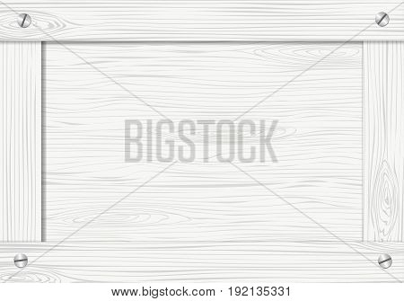 Side of white wooden crate, box or frame with screws