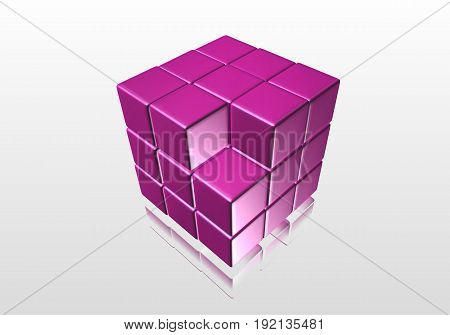 Purple solves a gray background with reflected from poverhni and failure of a small cube