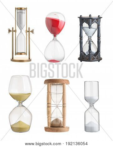 Set of hourglasses on isolated on white background