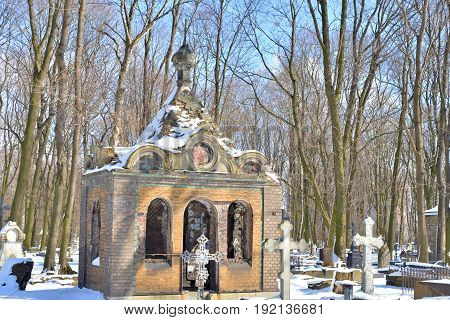Novodevichye Cemetery at sunny winter day in St.Petersburg Russia. The burial covers the period from the 1850s to the present.