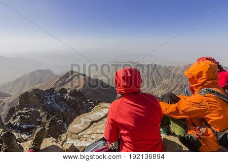 Toubkal national park the peak whit 4167m is the highest in the Atlas mountains and North Africa trekkers relaxing and appreciating view. Morocco