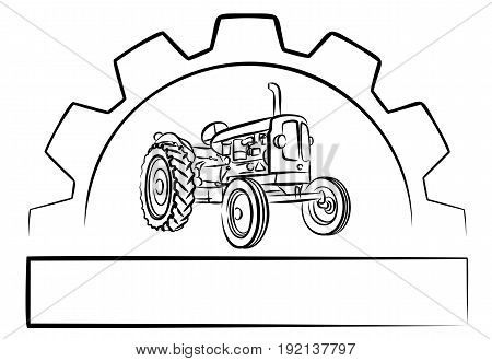 logo old tractor with a gear wheel.