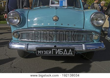 MOSCOW RUSSIA - OCTOBER 1 2016: Old Soviet car Moskvich-403 - front view.