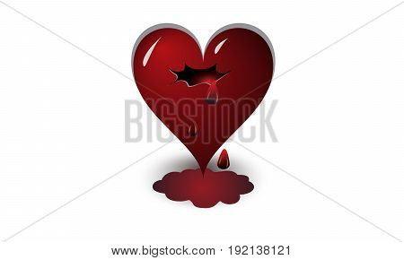 heart, shape, red, symbol, day, love, valentine s, wound, background, vector