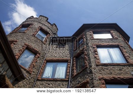 Looking up at Kip's Castle in Verona New Jersey