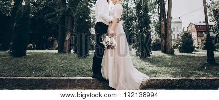 Stylish Wedding Bride And Groom In Sunny Park, Sensual Moment. Modern Couple Hugging And Embracing I