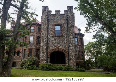 The front Entrance of Kip's Castle in New Jersey