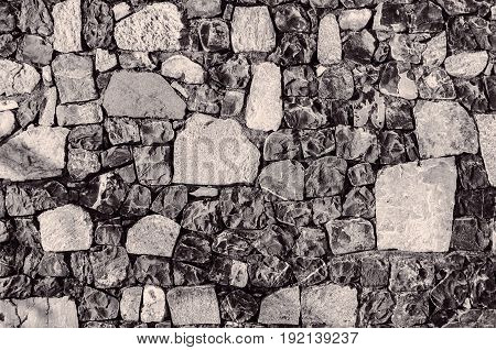 Fragment Of Old Brick Wall With River Stones Texture White Grey Brown Black Green Blue Lime Yellow O