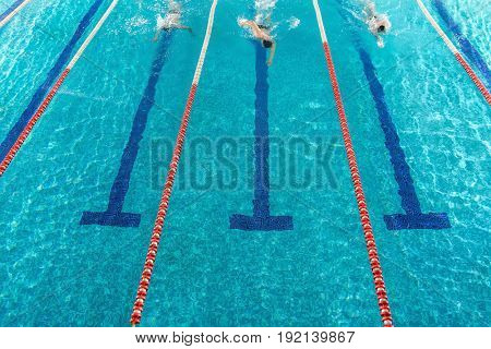 Three male swimmers racing against each other in a swimming pool