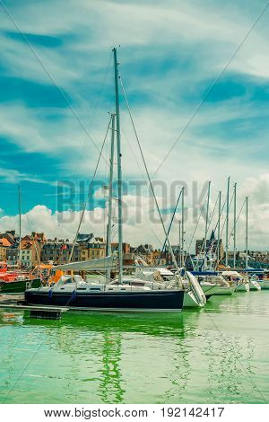 Yachts Moored At Quay Port Of Dieppe, France. Concepts Of Success, Leisure, Holiday, Rich, Tourism,
