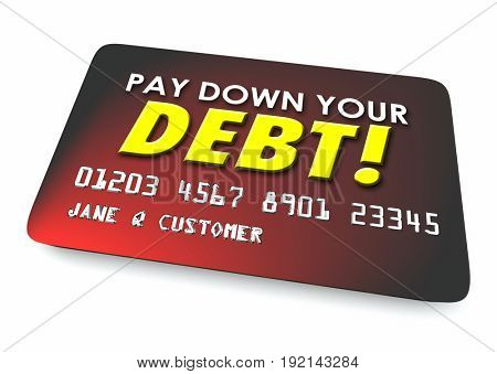 Pay Down Your Debit Credit Card Budget 3d Illustration