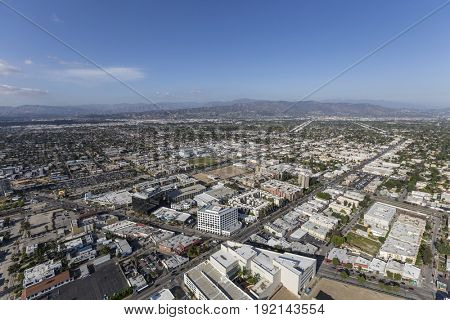 Aerial view of North Hollywood in the San Fernando Valley area of Los Angeles, California.