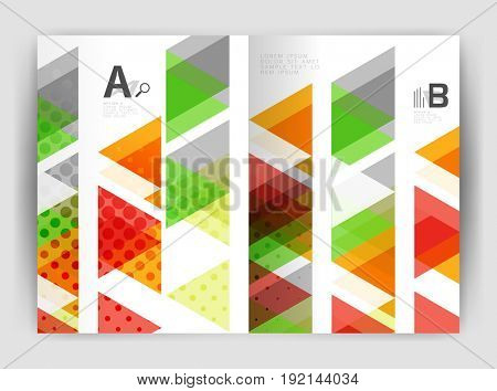 triangle business annual report cover print template. Brochure template layout, abstract cover design annual report, magazine, flyer or booklet. Geometric background