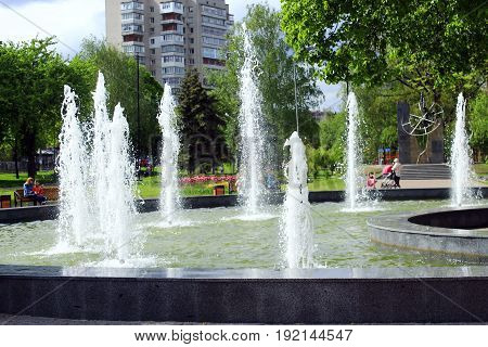 Chernihiv / Ukraine. 06 May 2017: fountains in city park in hot summer day. 06 May 2017 in Chernihiv / Ukraine.