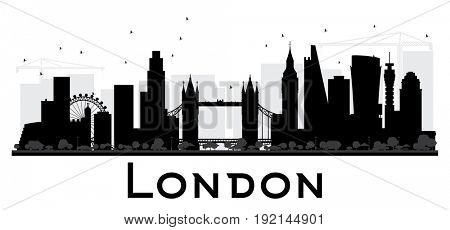 London City skyline black and white silhouette. Simple flat concept for tourism presentation, banner, placard or web site. Cityscape with landmarks.