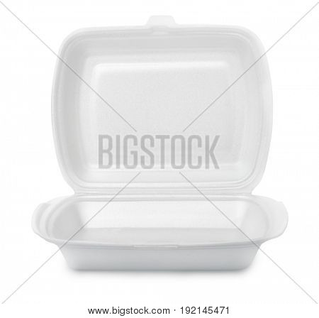 Open empty foam food container isolated on white