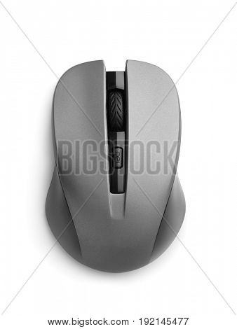 Top view of wireless computer mouse isolated on white