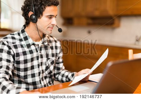 Man teleworking at home