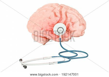 Stethoscope with human brain medical concept. 3D rendering