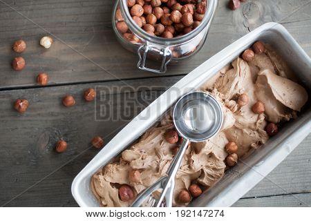 Homemade chocolate hazelnut ice cream