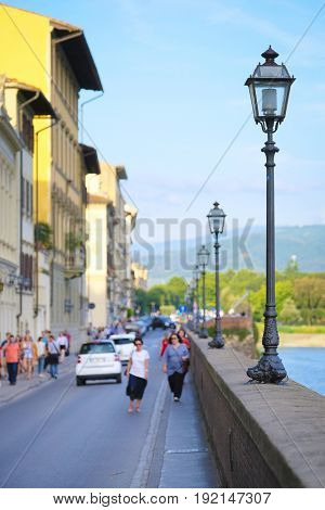 embankment of Arno river in Florence, Italy