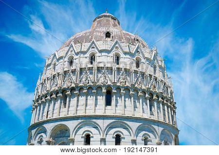 cupola of Battistero di San Giovanni on Piazza dei Miracoli in Pisa, Italy