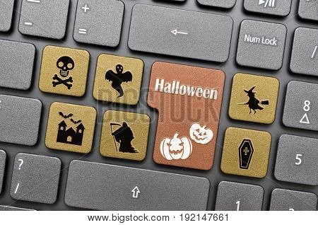 Brown halloween key on keyboard
