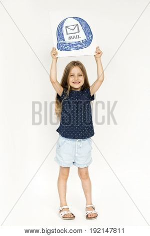 Child with a drawing of mailman hat
