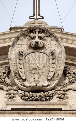 ROME, ITALY - SEPTEMBER 01: Facade decoration of the Church of the Gesu, mother church of the Society of Jesus, Rome, Italy on September 01, 2016.