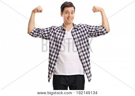 Young man flexing his muscles isolated on white background