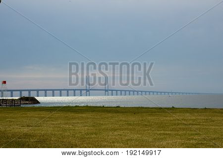 Orenund brigde connecting Malmo and Copenhagen, view from Swedish side