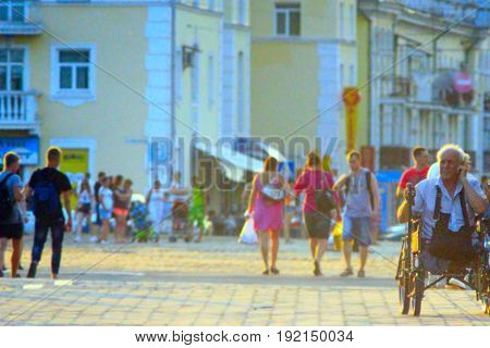 Chernihiv / Ukraine. 07 June 2015: People walk on the central area in Chernihiv Ukraine. Chernihiv / Ukraine. 07 June 2015: