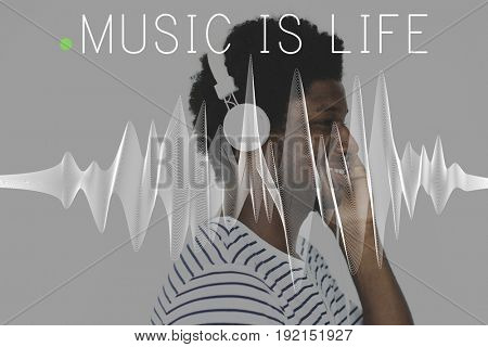 Adult Man Listen Music Entertainment Leisure Activity Word Graphic