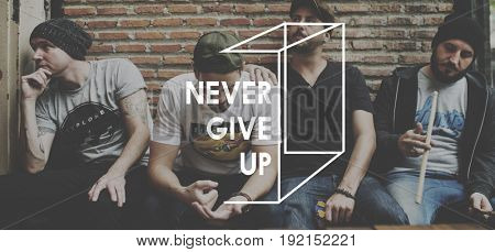 Never Give Up Life Motivation Inspiration Word Graphic