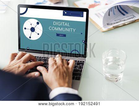 Illustration of social media online communication on laptop