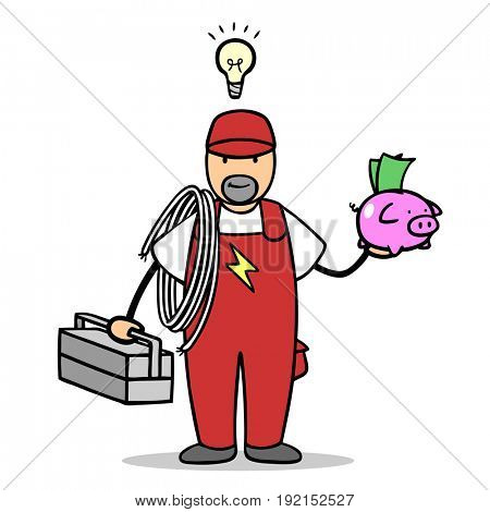 Electrician with light bulb over his head holds piggy bank as money concept