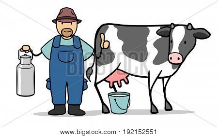 Cartoon of farmer with a cow and milk holding thumbs up