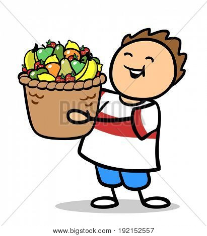 Fat child holding big fruit basket for a healthy diet