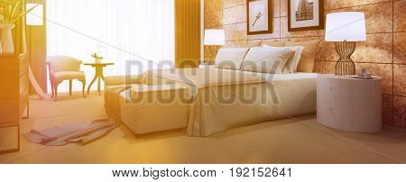 Sunny hotel beddroom as panorama with elegantly interior design (3D Rendering)