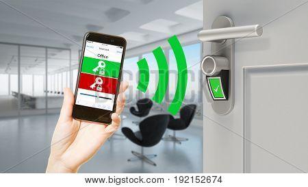 Smart lock door with smartphone app in modern business office as security (3D Rendering)