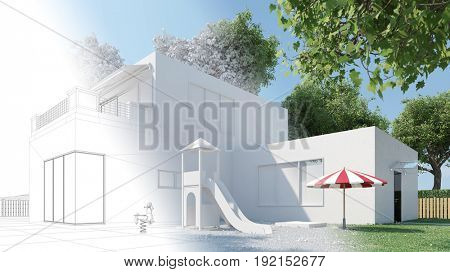 CAD house draft for construction planning developement (3D Rendering)