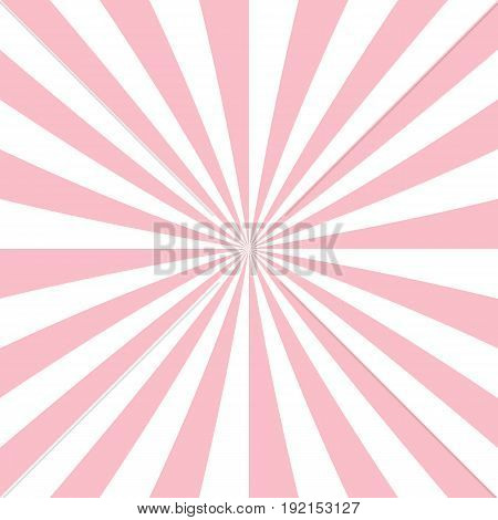 Pink and white abstract starburst background from radial stripes - vector graphic