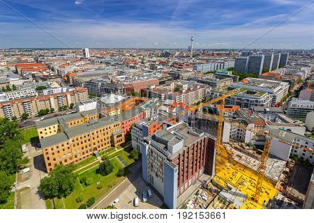 Panorama of Berlin city, Germany. Aerial view.
