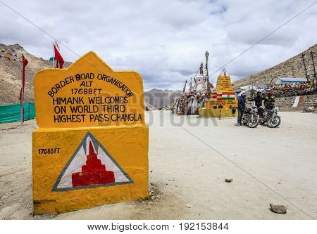 Ladakh, Kashmir, India, July 12. 2016: Changla pass in Ladakh, India - the world's third highest road pass