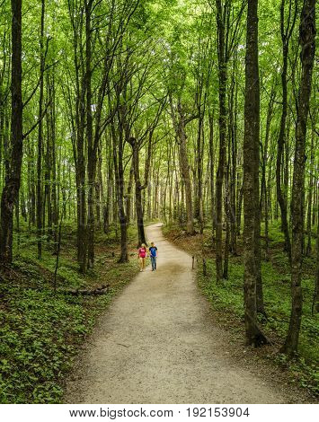 Pictured Rocks National Lakeshore, Michigan, August 10, 2016: young couple is walking on a trail to Miners Falls - a popular tourist destination in Upper Peninsula, Michigan