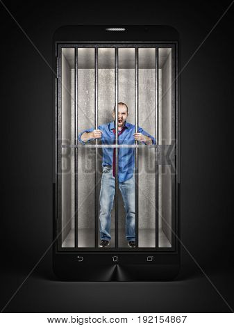 man imprisoned in a methaphoric smartphone jail 3d rendering image