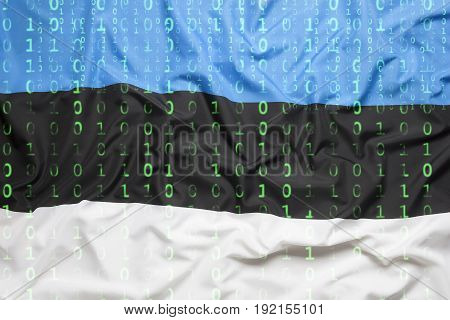 Binary Code With Estonia Flag, Data Protection Concept