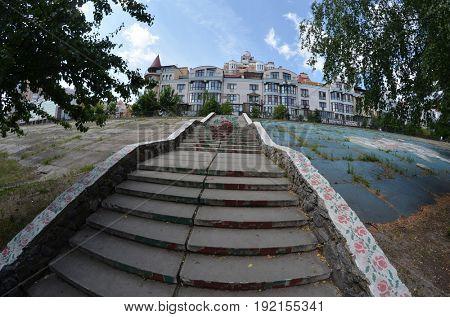 Modern residential area Obolon..June 21 ,2017 in Kiev, Ukraine