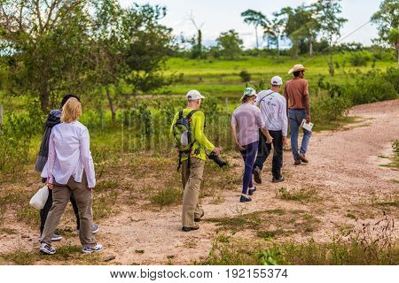 PANTANAL, BRAZIL - CIRCA MARCH 2015: Small group exploring the Brazilian Pantanal, Brazil