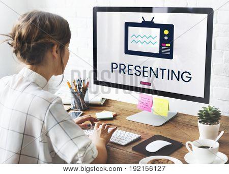 Illustration of TV broadcast media entertainment on computer